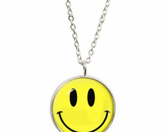 Silver plated smiley etsy smiley face pendant and silver plated necklace aloadofball