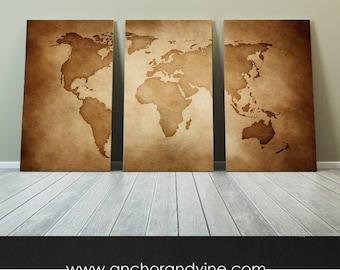 CANVAS // Vintage World Map //  Large Canvas Art, Large Wall Decor, Home Decor, Vintage Art, Modern Home Decor, Wanderlust, Map, Globe