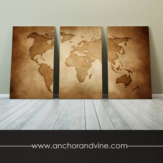Canvas vintage world map large canvas art large wall like this item gumiabroncs Image collections