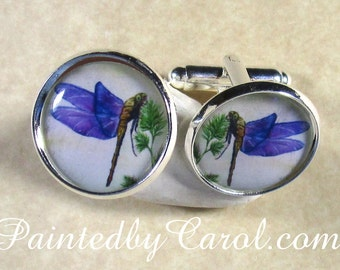 Dragonfly Cufflinks, Purple Dragonfly Mens Gifts, Outlander Fan Cufflinks, Outlander Fan Mens Gifts, Dragonfly Wedding Jewelry, Fathers Day