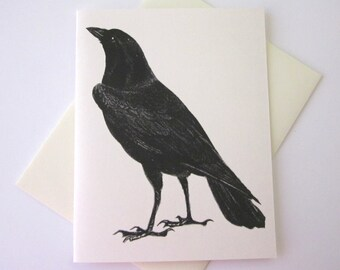 Black Raven Crow Note Card Set of 10 in White or Light Ivory with Matching Envelopes
