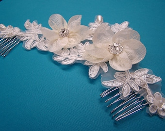 Leslie Li Vintage Inspired Lace Floret Applique with Handbeaded Pearls &  Crystal Accents 117