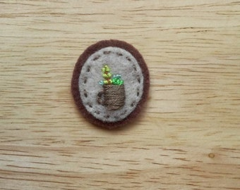 Succulents in Brown Mug (Patch, Pin, Brooch, or Magnet)