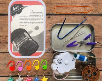 Vintage Yarn Ad #2 - Knitter's Tool Tin: handmade portable knit kit from The Sexy Knitter!