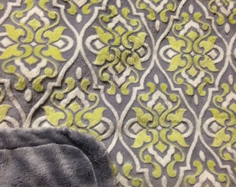 Minky Blanket - Green and Grey Trellis Minky with Grey Smooth Minky Backing - lush baby blanket, stroller blanket. Larger sizes available
