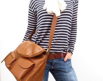 Brown Leather Crossbody Messenger Handbag