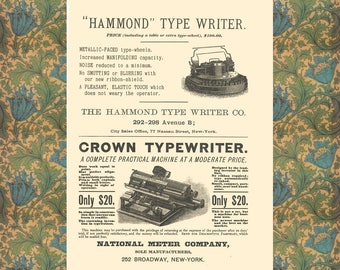 Typewriter Poster, Writer Gift Art, Vintage Typewriter Wall Art