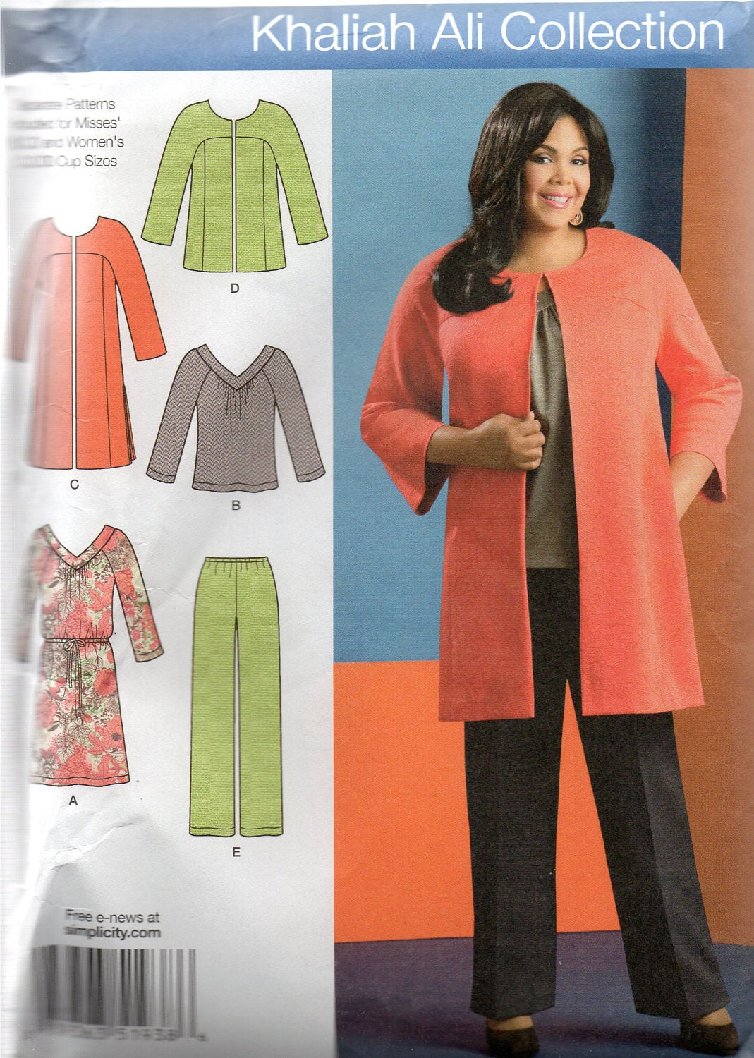 6df3f8bab Simplicity Khaliah Ali Pattern 1938 COAT or Jacket PANTS Knit