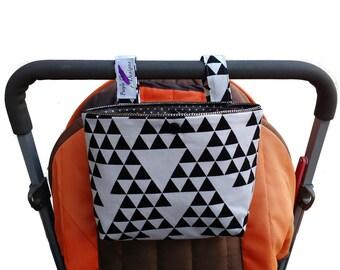 Pram caddy / pram organiser / mini wet bag / Makeup Bag - black triangle in white background