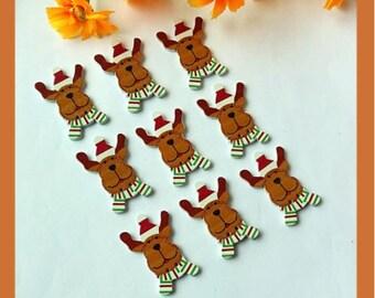 Set of 5 wooden reindeer Christmas buttons