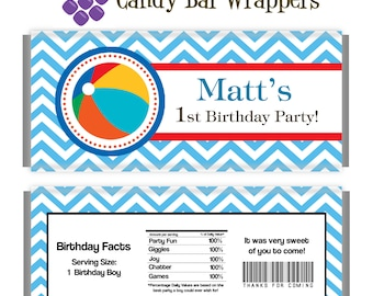 Pool Party Candy Wrapper - Blue Chevron, Beach Ball Boy Pool Party Personalized Party Favor Candy Bar Wraps - A Digital Printable File