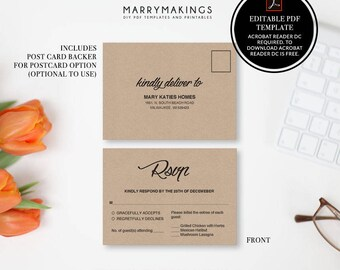 Wedding RSVP Postcard Template, pdf, Printable Wedding, Editable RSVP Template, Wedding Template, Instant Download, DIY Wedding Rsvp Card,01