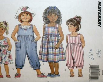 Child's Dress - Child's Jumpsuit - Toddlers Dress - Toddlers Jumpsuit - Sewing Pattern - Butterick 6818 - New - Uncut - Size 4, 5 , 6
