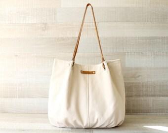 Tote Bag, Large Purse, Diaper Bag, Cream Bag, Creme Tote Bag, Handbag, Bag, Genuine Leather Handles, Large Bag, Oversize Bag, Everyday Tote