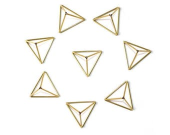 Brass Mini Pyramid, Modern Minimalist Himmeli Pyramid, Geometric Ornament