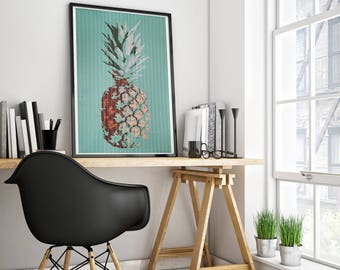 Pineapple Print (Limited Edition of 100) - A3 Retro Vintage Pineapple Poster Street Art Print Fruit Cool Wall Pop Art Rare Pineapple Gift