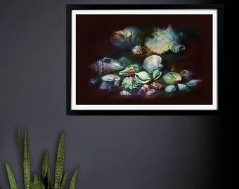 Neptune's Garden - Coloured Seashells Art Print,  Wall Art, Artwork, Giclee Print
