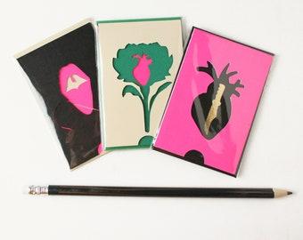 Série limitée 3 Cartes Expressions Françaises en papier découpé