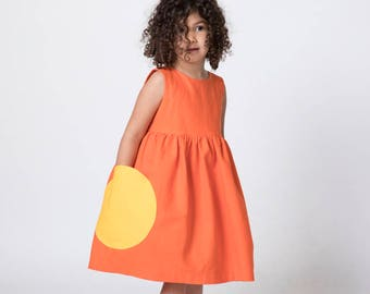 Orange Toddler Dress, Birthday Outfit, Dress with Pockets, Girls Dress, Girl Dress Pockets, Party Dress, Linen Dress, Linen Dress Wedding