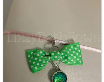 Neon green and white Polka dot bow and mermaid scale planner charm, purse charm, zipper pull, bowtie bow, dragon scale charm