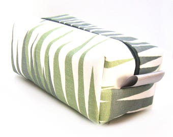 Makeup Bag Cosmetic Case - Sage Green and Gray Geometric