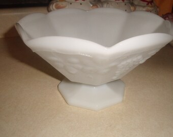 vintage milk glass fruit bowl embossed grapes