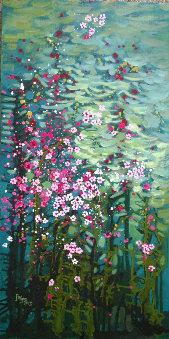 "AND SPRING AGAIN 20x39"" oil on canvas, four seasons, floral wall decor, original painting by Nguyen Ly Phuong Ngoc"