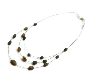 "Baltic Raw Amber Necklace ""Morning Coffee"""