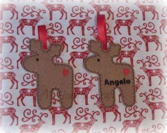 Personalised Reindeer Christmas Tree Hanging Decoration