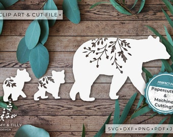Mama Bear Silhouette - Clipart & Cut File - Hand Papercutting - Cricut / Silhouette - SVG DXF PNG Pdf Jpg - Kids Children Nursery