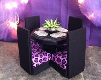 homemade barbie furniture. Doll Furniture For Barbie / Moster High Dining Table \u0026 Chairs - Purple Homemade
