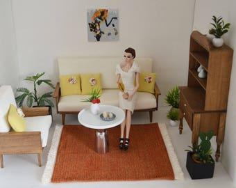 Rug, orange, 1/6 scale, Barbie scale, dollhouse, diorama, area rug, home decor, BJD, doll (Blythe, Momoko, Fashion Royalty, action figures)