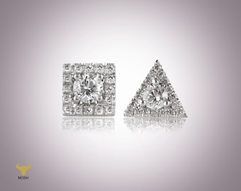 Mix and Match Earring Set, Minimalist Earing with a central diamond surrounded by small diamonds, Round, triangle and square earrings,
