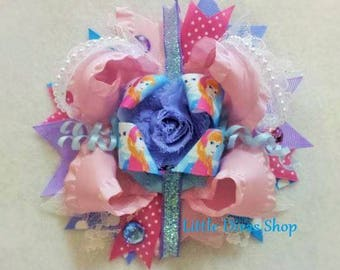 READY TO SHIP!   Big Pink Frozen Bow Clip   Elsa and Anna