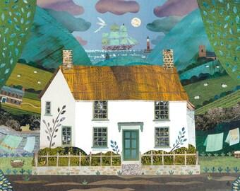 Coleridge, Greeting Card, English Romantics, Writers Houses, Naive Art, Collage, Coleridge Cottage, Recycled Art, Poetry, Amanda White, Art