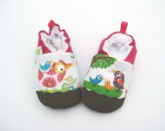 Classic Vegan Bird Talk / Non-Slip Soft Sole Baby Shoes /Made to Order / Babies Toddlers Preschool