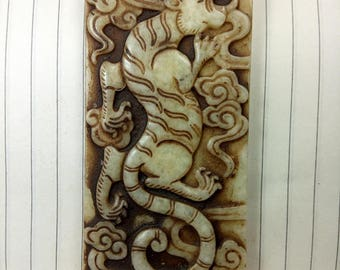 Antiqued Jade Pendant One of the four beasts: White Tiger Amulet Antique Design Talisman