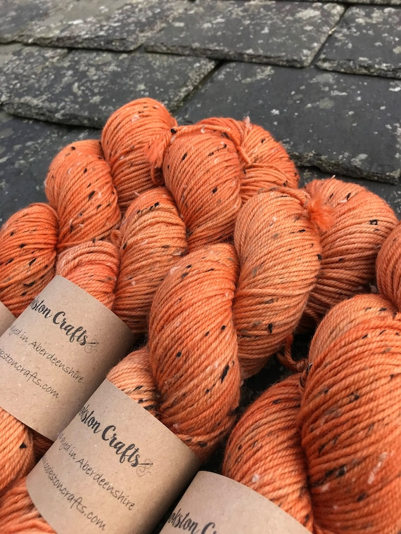 "100g donegal tweed merino DK, hand dyed in  Scotland, burnt orange, ""Irn Bru"""