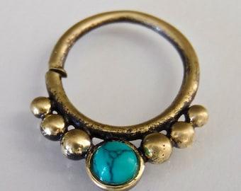 Tri-Dev Turquoise Brass Septum Ring - Septum Jewelry - Septum Piercing - 16G Septum Ring - Indian Septum Ring - Tribal Septum Ring (OB19)