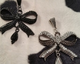 Rhinestone Bow Necklace - Pick Your Color