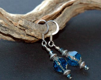 Dark Caribbean Blue Diamond Shape Czech Glass Earrings, Silver Metal Bead Accents, Boho Style Earrings, Drop Earrings in Deep Blue Color