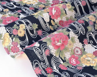 Japanese traditional style floral background black x 50cm