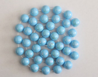 SALE - Vintage string of chunky AB sky blue beads 14mm (41)