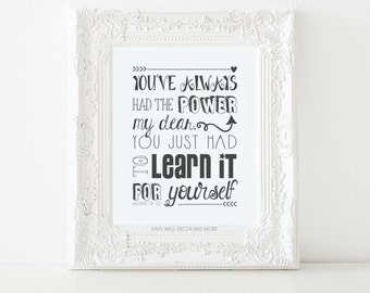 Princess Print.  Wizard of Oz Print.  You've Always had the Power my Dear, You just had to Learn how to use it.  Inspirational Print.