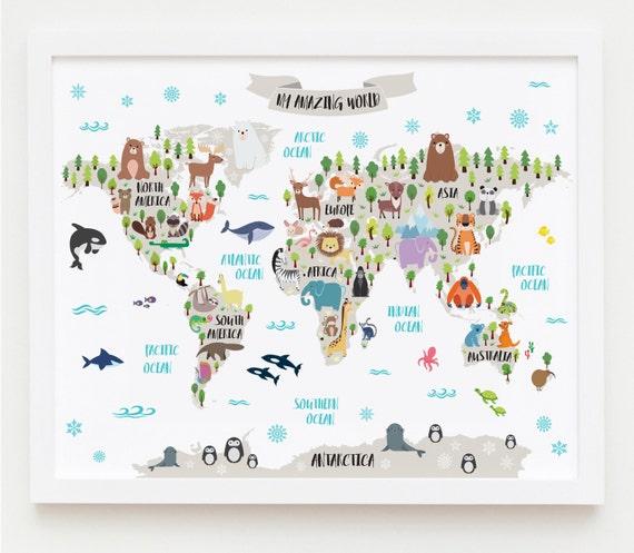 Nursery printable animal world map kids world map poster nursery printable animal world map kids world map poster nursery world map baby room map kids map art animal nursery decor unique baby gift gumiabroncs Image collections