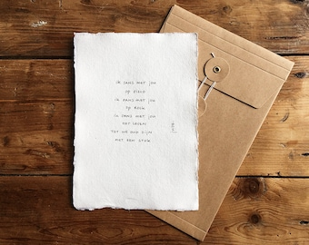 Stick | Poem on cotton paper