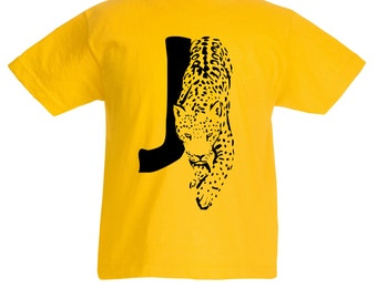 Kids J is for Jaguar T-Shirt / Childrens Animal A-Z Alphabet T Shirt in Black, Grey, Pink, Yellow, Blue / Age: 3-4, 5-6, 7-8, 9-11, 12-13