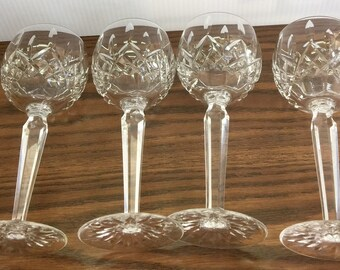 "Waterford ""Lismore""  (4) Hock Wine Stemware Glasses (4)"