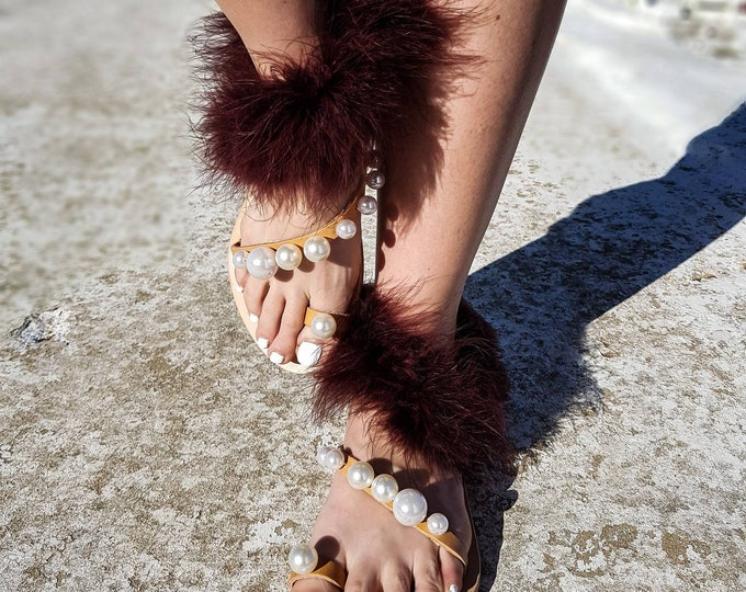 DHL FREE/gladiator sandals/fur marabou/strappy sandals/luxury sandals/pearls sandals/women shoes/Greek sandals/flats/handmade/