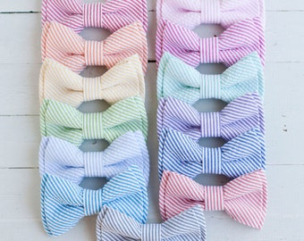 The Beau- men's classic stripe seersucker double stacked bow ties - choose from 13 shades (clip or strap selection)